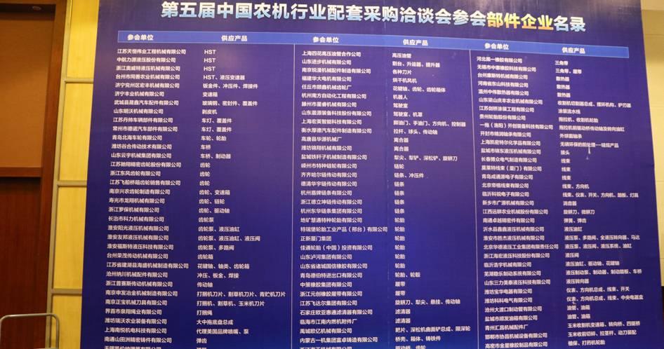 第五届中国农机行业配套采购洽谈会参会部件企业名录