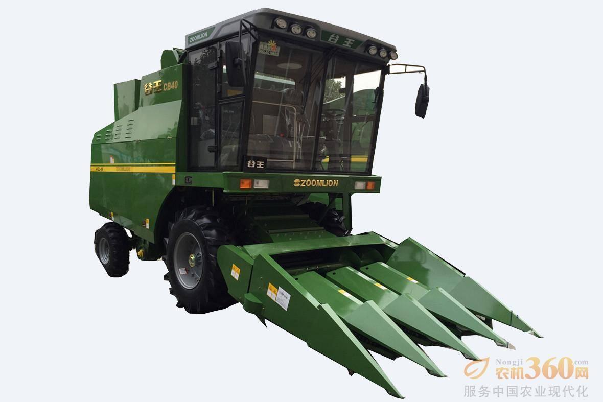 谷王CB40玉米收获机,适应河南、河北、安徽等中原地区。该产品是在公司现有成熟机型4LZ-6B小麦机基础上,通过更换适应玉米籽粒收获的割台、脱粒滚筒、清选筛系统,实现玉米籽粒直收。