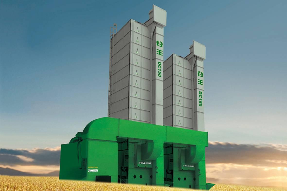 """""""谷王""""DC150型循环式谷物烘干机,适用于稻谷、玉米、小麦、芝麻、油菜籽、花生、瓜子及豆类。自动化程度高,热风、谷温、水分在线自动监控、具备故障自动报警、谷物自动循环,出料、系统自动停机;多功能燃烧炉,采用一炉多用系统,煤、柴、农作物秸秆、谷糠均可作为热源使用。"""