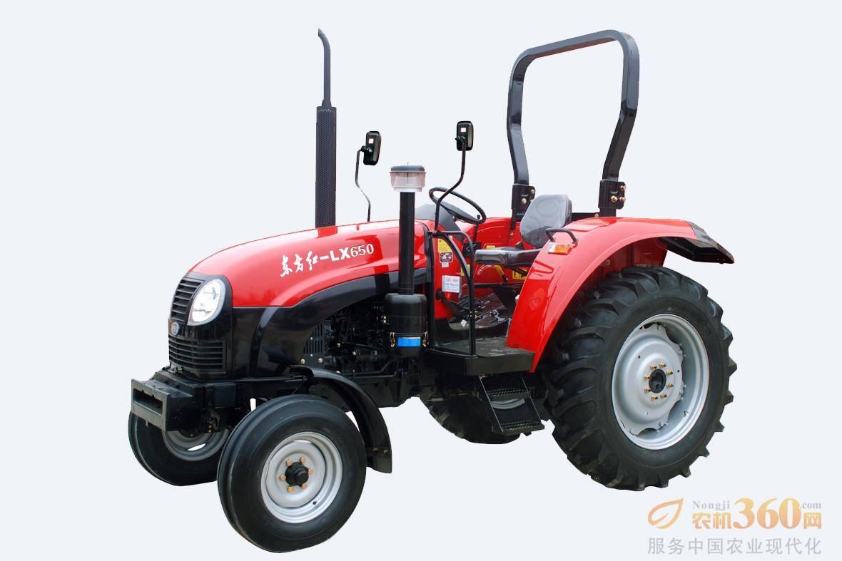 东方红LX系列拖拉机装配独立控制的双作用离合器,动力输出有独立和同步输出功能,独立动力输出轴转速有540/720/1000r/min等,并可实现双转速的组合,满足与多种机具配套作业。图为东方红LX650轮式拖拉机。