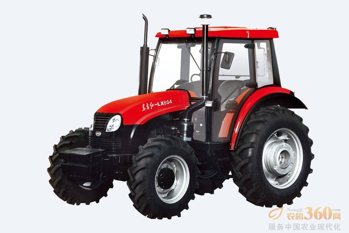 东方红LX系列拖拉机是一拖公司在吸收国外先进技术的基础上,自行开发的后轮、四驱动轮式拖拉机,以及根据市场需求开发的高地隙拖拉机。该机装配东方红名优发动机,油耗低,扭矩储备大,动力经济性好;变速箱标准型为12+4啮合套换挡,可选装同步器,速度排布合理,有爬行档或逆行器选装,使用用途广。图为东方红LX604轮式拖拉机。