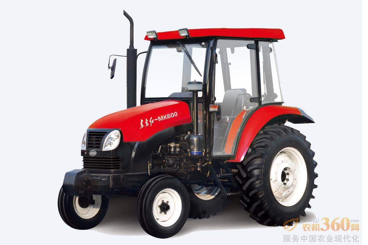 东方红MK600轮式拖拉机,驱动方式为两驱,60马力,动力输出轴转速540、720、1000r/min;额定牵引力13.5KN,额定提升力≥11KN;前进速度范围为2.45-39.82km/h。