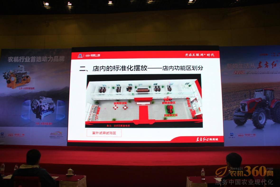 一拖集团营销中心向与会嘉宾展示东方红e购商城店内的标准化摆放。