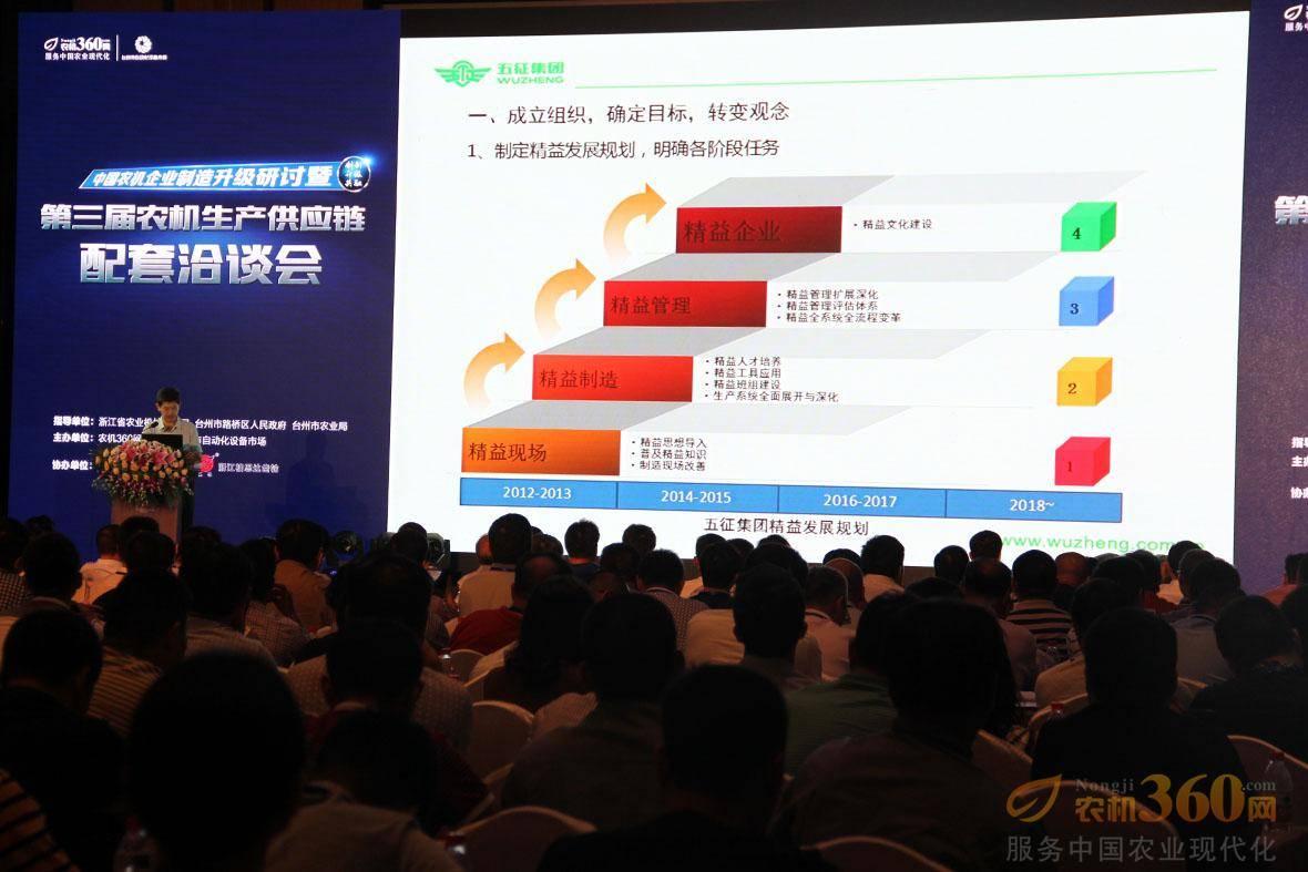 山东五征集团有限公司集团副总兼精益生产部部长王焕武做农机企业精益化生产管理应用与分析主题分享。