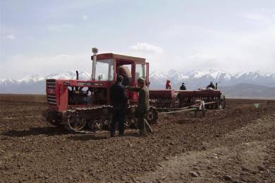 东方红CA802履带拖拉机带播种机在青海作业